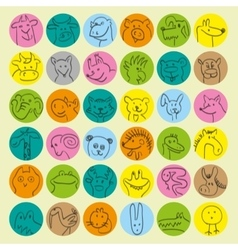 Avatars of hand drawn funny doodle animals vector
