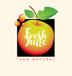 banner for fresh apple juice with fruit vector image