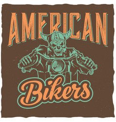 biker t-shirt label design vector image