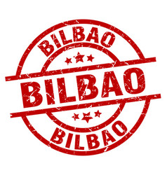 Bilbao red round grunge stamp vector