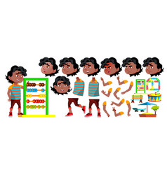 black afro american boy kindergarten kid vector image