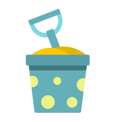 Blue bucket of sand and shovel icon isolated vector