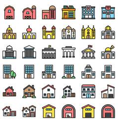 Buildings set filled design editable outline vector