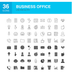 business office line web glyph icons vector image