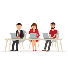 Business people behind a desk working vector