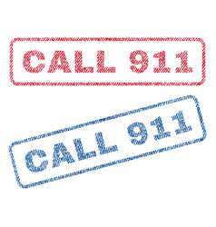 Call 911 textile stamps vector
