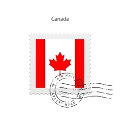 Canada Flag Postage Stamp vector image