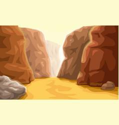 Cartoon canyon landscape at bottom vector