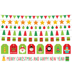 christmas banners and gift tags isolated graphic vector image