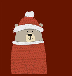 christmas card with santa bear vector image