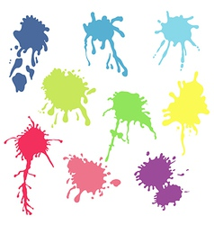 Collection of watercolor paint splash set of color vector