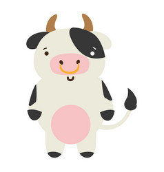 Colorful cute and happy cow wild animal vector