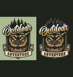 Colorful outdoor adventure vintage label vector