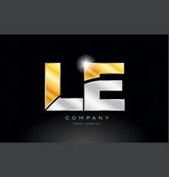 combination letter le l e alphabet with gold vector image
