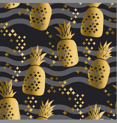 Concept gold luxury pineapple seamless pattern vector