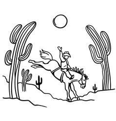 cowboy riding a wild horse line art vector image