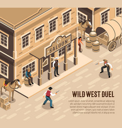 cowboys duel isometric vector image