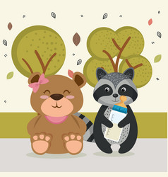 cute bear and raccoon animal characters vector image