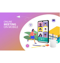 Digital meeting teleconference vector