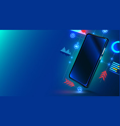 Digital mobile technology cosmos style in blue vector
