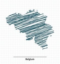 Doodle sketch of belgium map vector