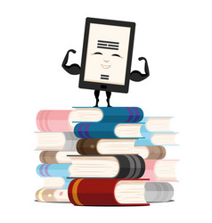 Electronic book and pile of books vector