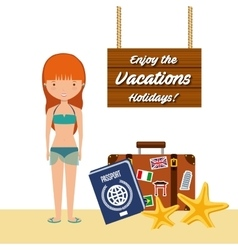 enjoy the vacations holidays vector image