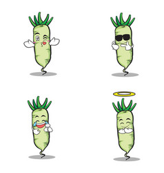 Face white radish character cartoon vector