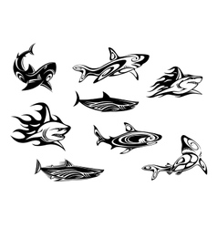 Fierce shark tattoo icons vector image