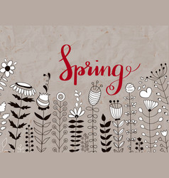 Floral pattern with spring lettering vector