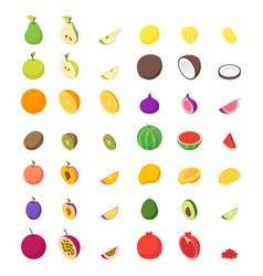 fruits and berries 3d icons set isometric view vector image