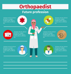 Future profession orthopaedist infographic vector