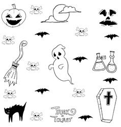 Ghost cat bat Halloween doodle set vector image