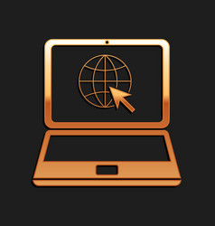 gold website on laptop screen icon isolated on vector image