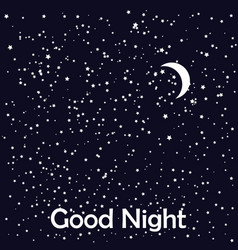 Good night card with moon and stars vector