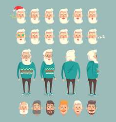 Grandpa wearing sweater set vector