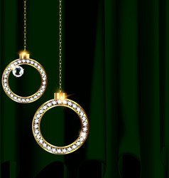 Green drape and jewel christmas balls vector