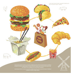 hand drawn fast food round concept vector image