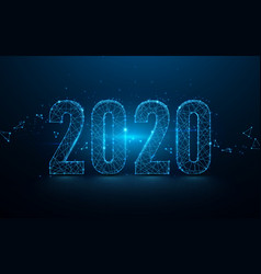 Happy new year 2020 banner from lines triangles vector