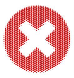 Hexagon halftone cancel icon vector