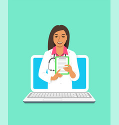 Indian woman doctor online consultation concept vector