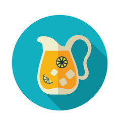 Jug of lemonade with slices of citrus and ice icon vector