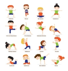 Kids Children Yoga Poses Cartoon Set vector