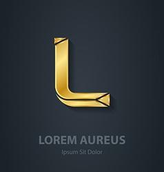 Letter L elegant gold font Template for company vector