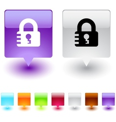 Lock square button vector image vector image