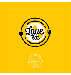 Love eat logo cafe or restaurant emblem vector