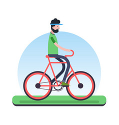 man riding bicycle outdoor for environment help vector image