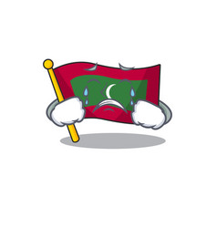 Mascot flag maldives with in crying character vector