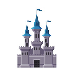 Medieval castle fairytale stone fortress with vector