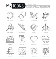 Modern thin line icons set of classic game objects vector image